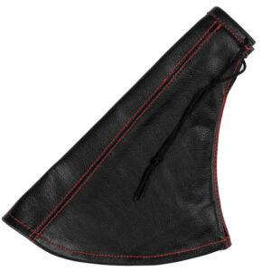 Cuffia in pelle leva freno a mano nera – Rosso