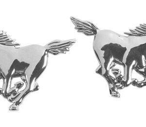 Emblema 3D cromato – 2 Horses