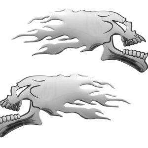 Emblema 3D cromato – 2 Skulls
