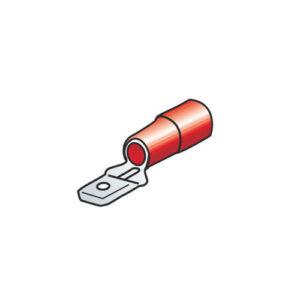 10 terminali – capicorda maschio piatti – Rosso