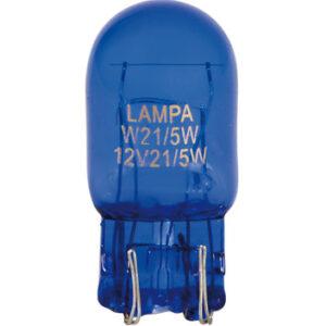 12V Blue Dyed Glass, Lampada con zoccolo vetro 2 filamenti – (W21/5W) – 21/5W – W3x16q – 2 pz  – D/Blister