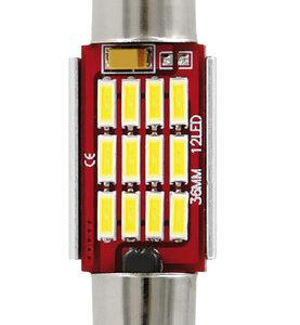10-30V Mega-Led 12 – 12 SMD x 1 chip – (C5W) – 12×36 mm – SV8,5-8 – 1 pz  – D/Blister – Bianco – Doppia polarit? – Resistenza incorporata