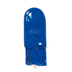 12V Blue Dyed Glass, Lampada zoccolo vetro – (W5W) – 5W – W2,1×9,5d – 2 pz  – D/Blister