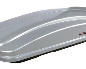 Box 430D, box tetto in ABS, 430 litri, doppia apertura – Argento lucido